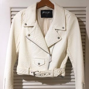NWOT NASTY GAL White Vegan Leather Jacket size XS